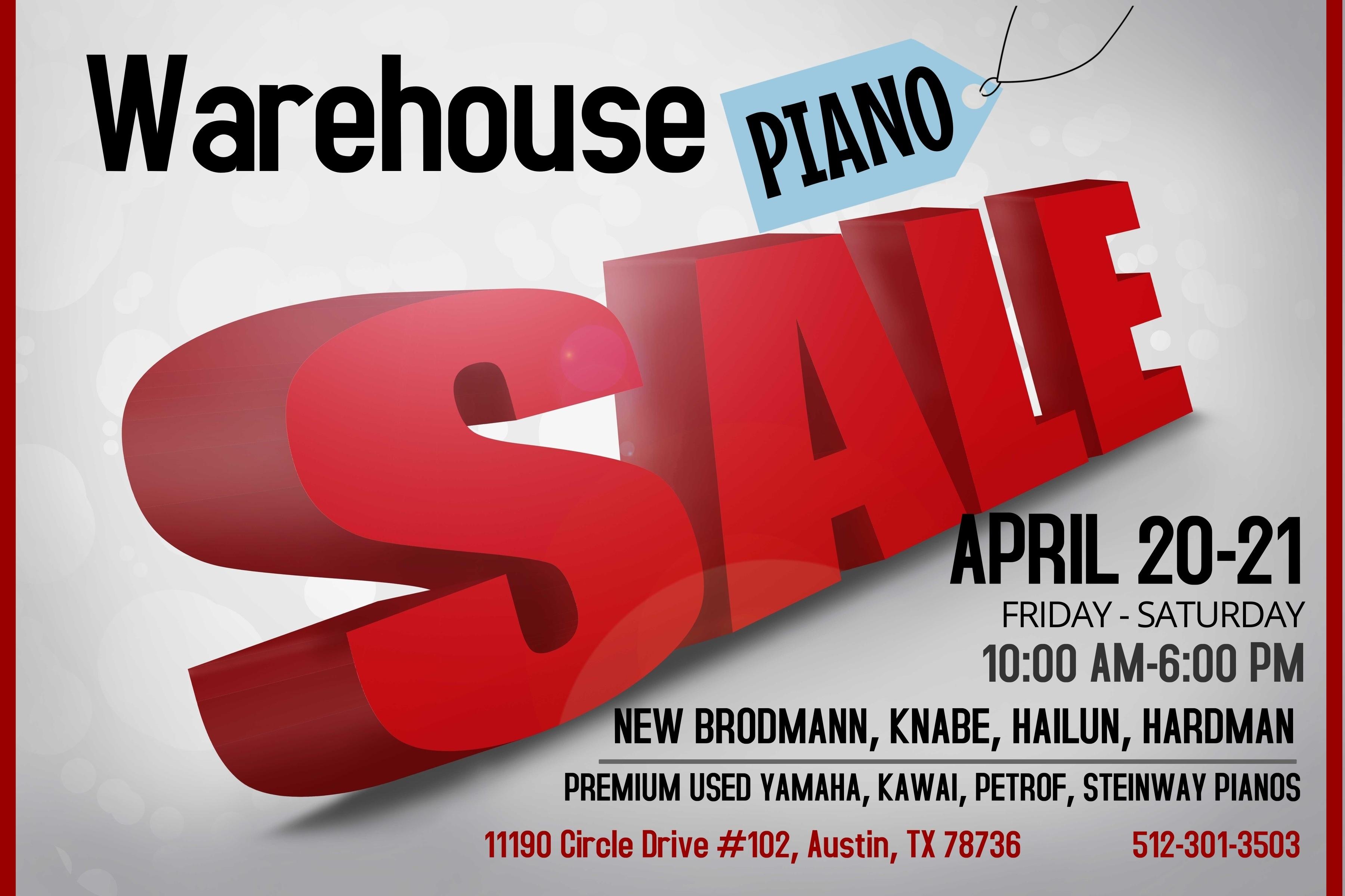 2018 Warehouse Piano Sale